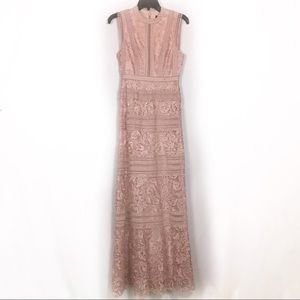 BCBGMaxAzria Blush Pink Lace long formal dress